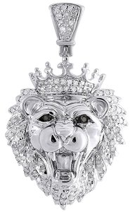 Diamond Crown Lion Head Pendant .925 Sterling Silver Charm 0.36 Ct.