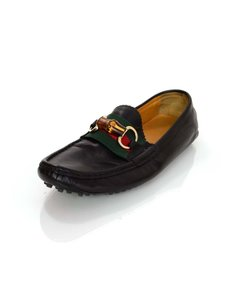 Gucci Leather Loafers Web Horsebit Flats