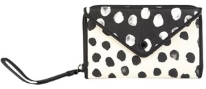 Marc by Marc Jacobs Black Metropoli Deelite Wingman Leather Wallet Cellphone Clutch Polka Dot