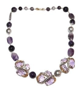 Alexis Bittar Alexis Bittar Purple Feather 3 Clustered Strand Necklace