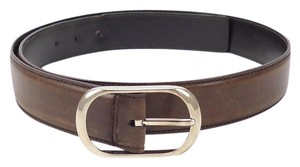 Gucci Men's Distressed Leather Strap Oval Buckle Size 38 / 95