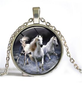 White Running Horse Cabochon Necklace Free Shipping