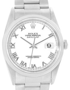 Rolex Rolex Datejust Mens Stainless Steel White Roman Dial Watch 16200