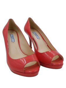 Prada Heels Open Toe Coral Pumps