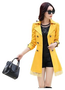 Other Trench Slim Lace Fur Trench Coat