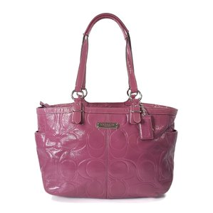 Coach Embossed Patent Leather Silver Hardware Tote in Pink