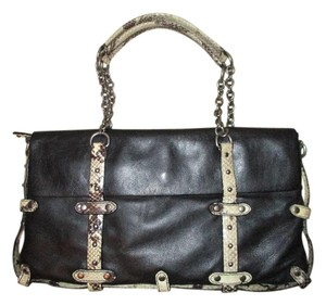 Cynthia Rowley Leather Studded Snakeskin Python Satchel in black, tan & brown