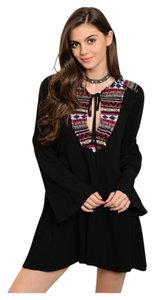 Other short dress Black Embroidery Bohemian Bell Sleeve Embroidery Long Sleeve on Tradesy