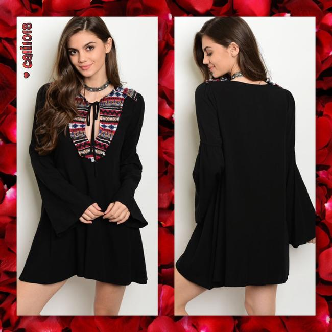 Other short dress Black Embroidery Bohemian Bell Sleeve Embroidery Long Sleeve on Tradesy Image 1