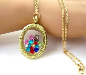 Gold Oval Floating Charm Locket Necklace Free Shipping