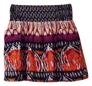 Hot & Delicious Mini Skirt Black, purple, orange, cream