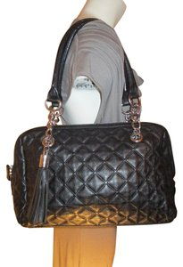 Calvin Klein Leather Quilted Tassel Satchel in black