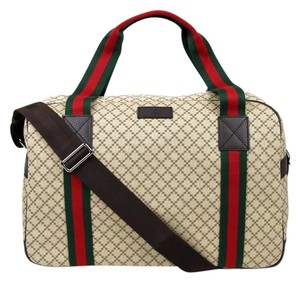 Gucci Diamante Canvas Duffle Travel Beige Travel Bag
