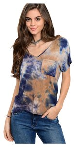 Other V-neck Short Sleeve Boho T Shirt Navy and Taupe Tye Dye