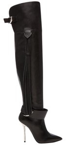 Versace Leather Boot Thigh High Black Boots