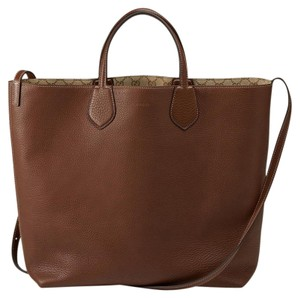 Gucci Ramble Reversible Leather Tote in Beige/Brown