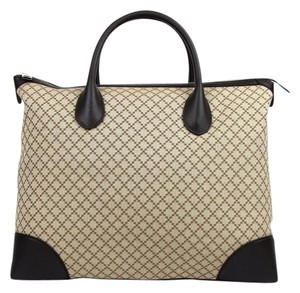 Gucci Diamante Canvas Leather Carry-on Tote in Brown