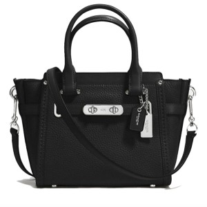 Coach 37444 Swagger 21 Pebble Leather Silver Satchel in BLACK
