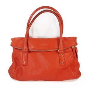 Kate Spade Foldover Soft Pebbled Leather Satchel in Orange / Red