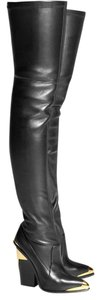 Versace Leather Thigh High Black Boots