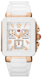 Michele Michele Park White Silicone Rose Gold Chronograph Watch MWW06L000014