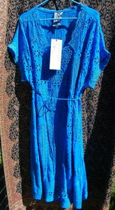 Cobalt Blue Maxi Dress by Johnny Was Scoop Neckline Empire Waist Embroidered Rayon