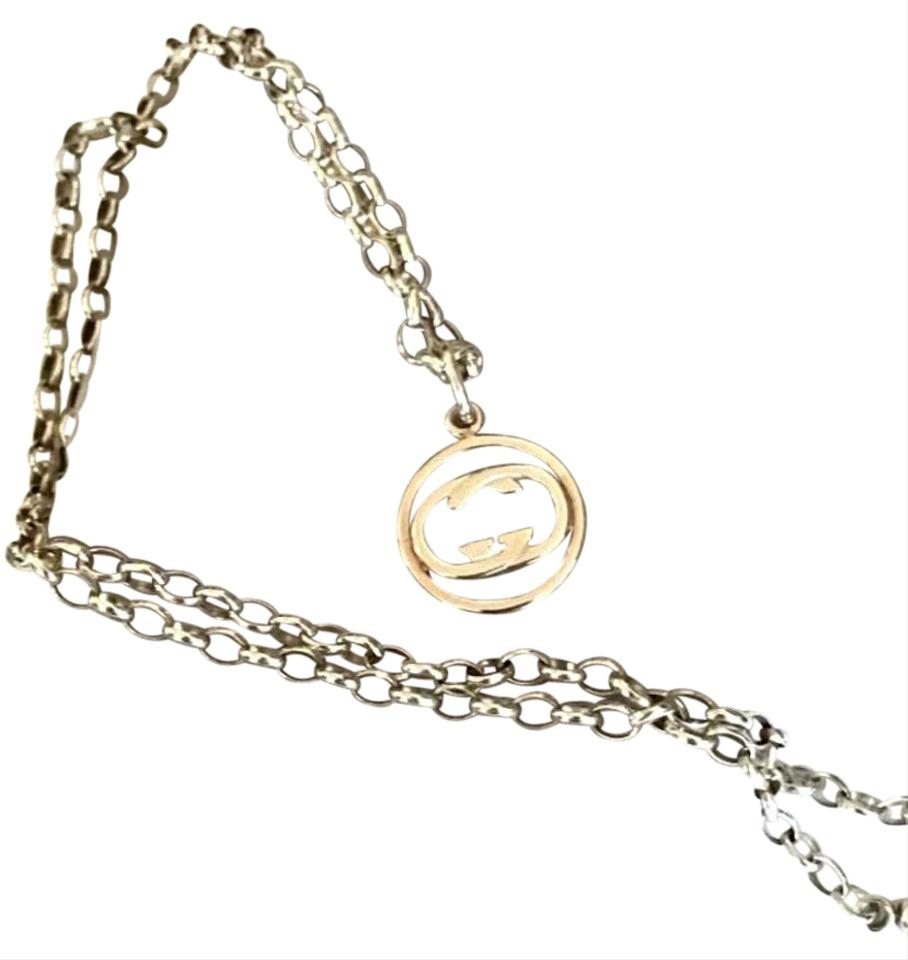 Gucci Silver Sterling Double G Pendant Chain Necklace