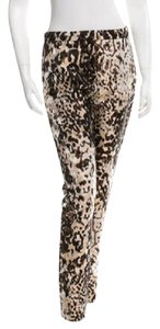 Lanvin New Animal Print Straight Pants Brown