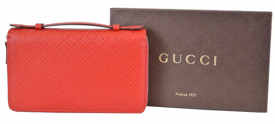 47c02133fc79 Gucci Gucci 336298 Red Leather Diamante XL Double Zip Travel Clutch Wallet  Image 9. 12345678910