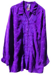 Johnny Was Exotic Embroidered Rayon Button Down Shirt Blue Purple