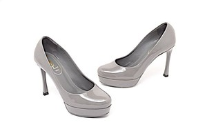 Saint Laurent Ysl Yves Rive Gauche Gisele Gray Patent Pumps