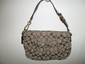 Coach Fabric Leather Gold Tone Hardware Adjustable Satchel in Brown Beige
