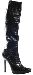 Guess Crocidle Patent Leather Stilleto Black Boots