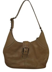 Coach Leather Khaki Tan Buckle Hobo Bag