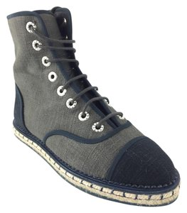 Chanel High Tops Espadrille Gray/Black Boots