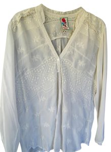 Johnny Was Textured Embroidered Rayon Top Cream