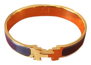 Herms Hermes Clic-Clac H Gold Plated & Purple Narrow Enamel Bracelet GM
