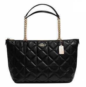Coach Satchel Leather Satchel Tote in Black gold tone