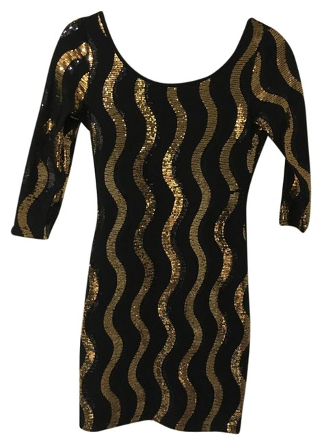Item - Black and Gold Sequin Mini Night Out Dress Size 4 (S)