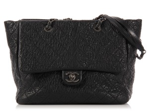 Chanel Black Crinkled Quilted Cc Tote