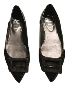 Roger Vivier Suede Patent Leather Black Flats