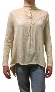 Free People Vintage Looking Lace Trim Top Off-white