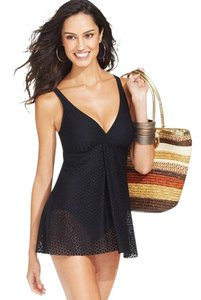 Swim Solutions SWIM SOLUTIONS BLACK CROCHET FLYAWAY ONE PIECE SWIMSUIT 8
