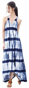 Navy Shibori Maxi Dress by Banana Republic Nwt New With High-low