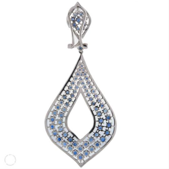 Other ,Blue,Sapphire,And,1.25,Ct.,Diamond,Abstract,Shaped,Earrings