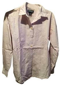 Lands' End Button Down Shirt Light Purple and White