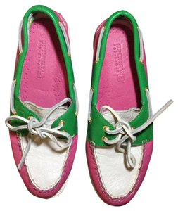 Sperry Pink, Green, White Flats