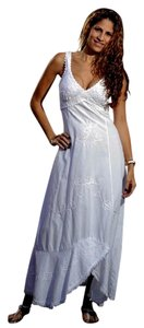 White Maxi Dress by Lirome Lace Trim Empire Waist Embroidered Hi Lo Chic
