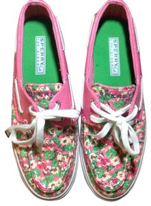 Sperry Pink, Green Flats