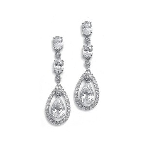 Mariell Oval And Pear Dangle Bridal / Wedding Earrings
